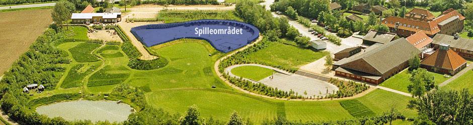 Luftfoto af spil området i Gerlev Legepark